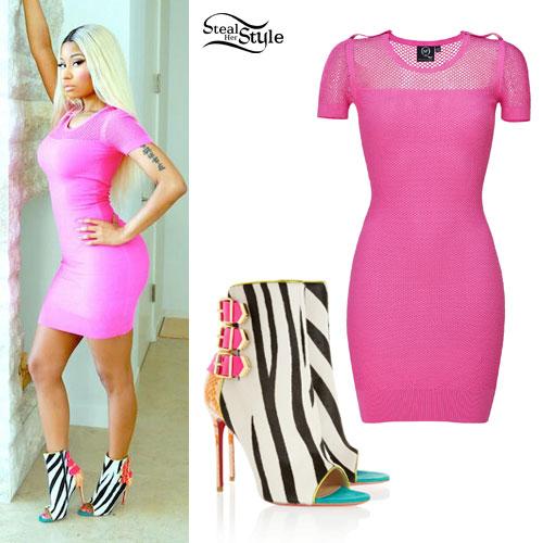 nicki minaj pink mesh dress zebra booties steal her style