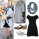Perrie Edwards: Grey Coat, Black Dress
