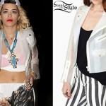 Rita Ora: White Rubber Jacket
