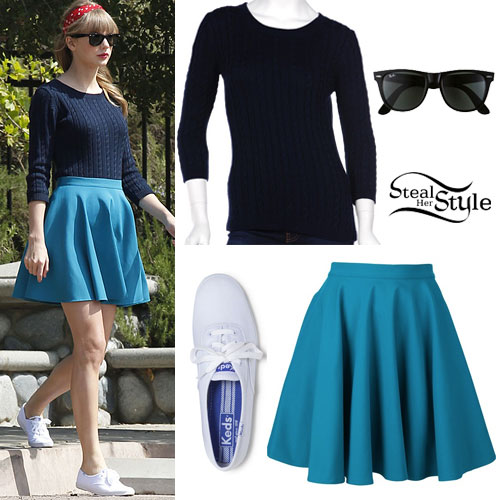 Taylor Swift: Cable Sweater, Skater Skirt