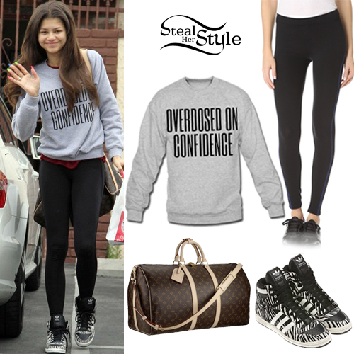 Zendaya Coleman Grey Sweatshirt Zebra Shoes Steal Her Style