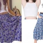 Ariana Grande: Blue Floral Long Skirt, White Crop Top