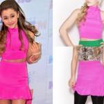 Ariana Grande: Pink Turtleneck Crop Top & Skirt