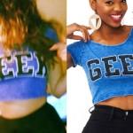 Bebe Rexha: Blue 'Geek' Cropped Tee