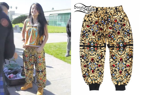 Becky G: Black & Gold Print Jewel Pants