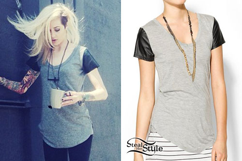 Carah Faye Charnow: Leather Sleeve Tee