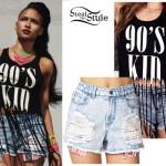 Cassie: 90s Kid Tank Top, Flag Pocket Denim Shorts
