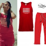 Cassie: 'Paradise' Bullet Tank & Red Sweatpants