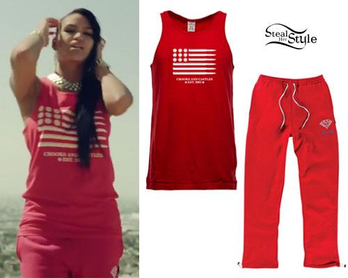 Cassie: 'Paradise' Bullet Tank & Red Sweatpants