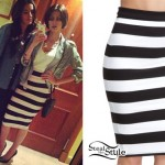 DEV: Black & White Stripe Pencil Skirt