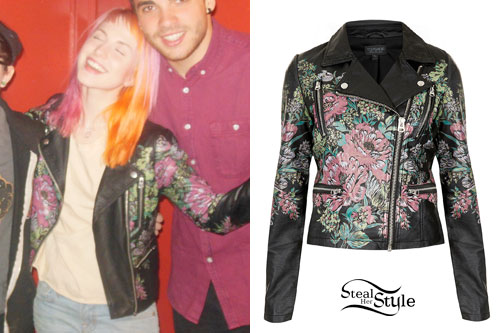 Hayley Williams: Floral Leather Jacket