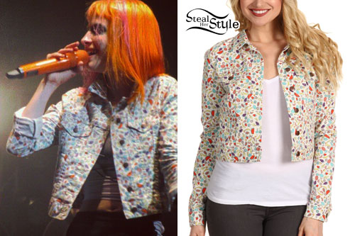 Hayley Williams: Fruit Print Denim Jacket