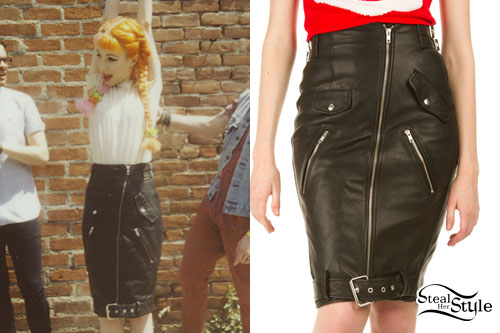 Hayley Williams: Leather Biker Skirt