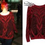 Hayley Williams: Red Zebra Sweater