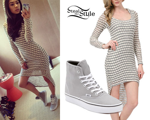 Jessica Sanchez: Hooded Sweater Dress, Sneakers