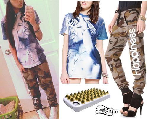 Jessica Sanchez: Tupac Tee, Camouflage Pants