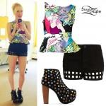 Jessie Malakouti: Comic Peplum Top, Cutout Shorts, Lita Jewel Boots