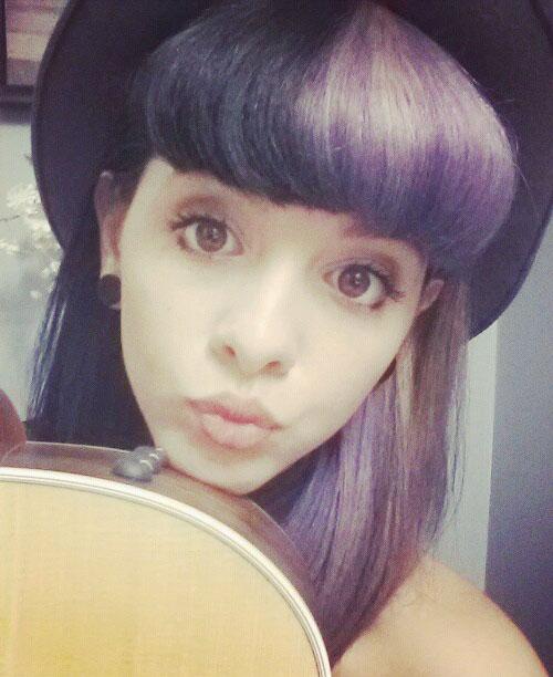 Melanie Martinez Straight Black Purple Blunt Bangs Split