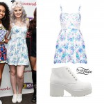 Perrie Edwards: Floral Dress, White Boots