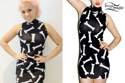 Amelia Lily: Bone Print Turtleneck Dress
