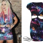 Amelia Lily: Galaxy Print Cutout Dress