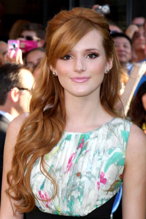 Bella Thorne Wavy Ginger Half Up Half Down Sideswept