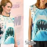 Bridgit Mendler: Shark Print T-Shirt