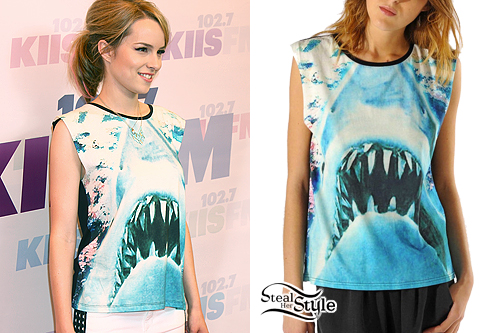 Bridgit Mendler: Shark Print T-Shirt