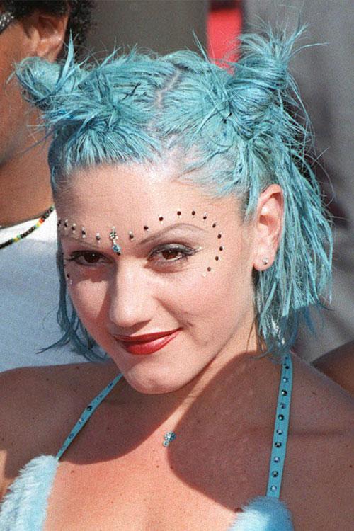Gwen Stefani Straight Blue Bob Messy Multiple Buns