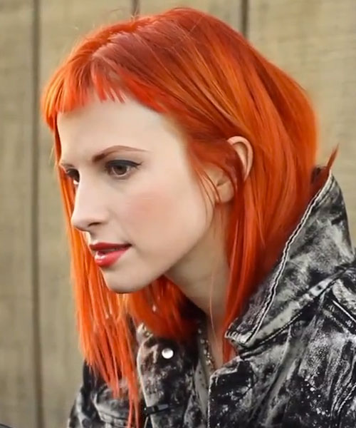 Hayley Williams Orange Baby Bangs Hairstyle Steal Her Style