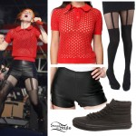 Hayley Williams: Polo Sweater, Leather Shorts