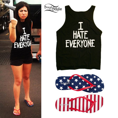 Jess Bowen: I Hate Everyone Tank, Flag Sandals