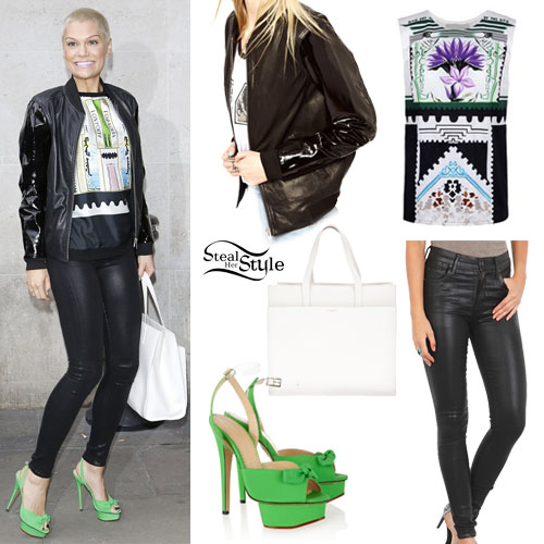 Jessie J: Patent Bomber Jacket Outfit