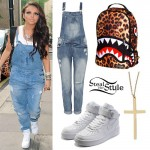 Jesy Nelson: Denim Dungarees, White Sneakers