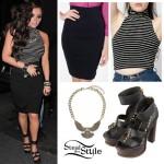 Jesy Nelson: Striped Turtleneck, Black Skirt