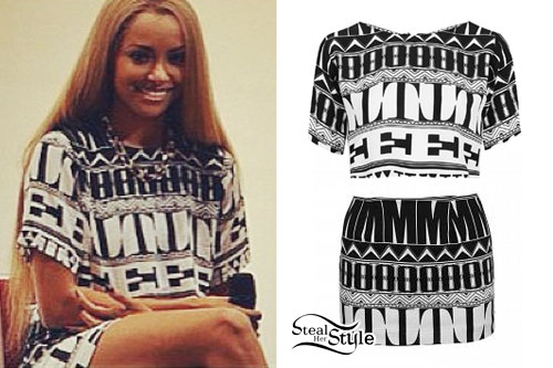 Kat Graham: Aztec Print Crop Top & Skirt