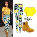 Leigh Anne Pinnock: Aztec Leggings, Yellow Tee