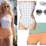 Pixie Lott: Grid Print Swimsuit, Orange Shorts