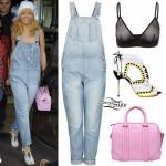 Rihanna: Denim Overalls Outfit