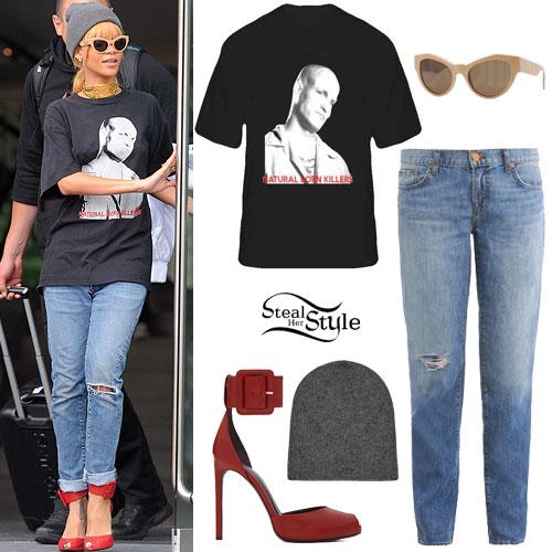 Rihanna: Printed T-Shirt, Distressed Jeans