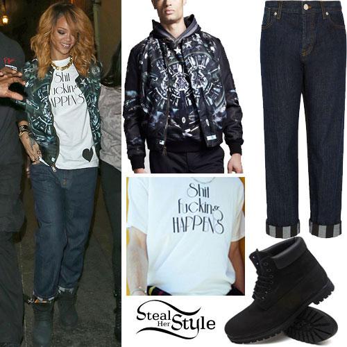 Rihanna: Shit Happens T-Shirt, Timberland Boots