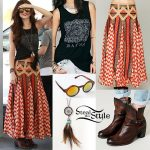 Selena Gomez: Tribal Print Skirt, Black Tank Top