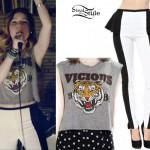 Sydney Sierota: Tiger Tee, Black & White Pants
