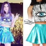 Victoria Justice: Sequin Eye Top, Metallic Skirt