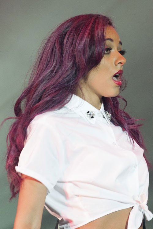 Jade Thirlwall Wavy Purple Angled Uneven Color Hairstyle