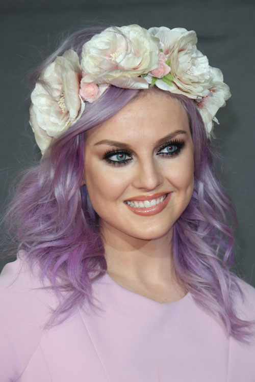 Perrie Edwards Wavy Purple Headband Hairstyle Steal Her