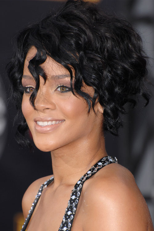rihanna curly black angled bob bob hairstyle steal her