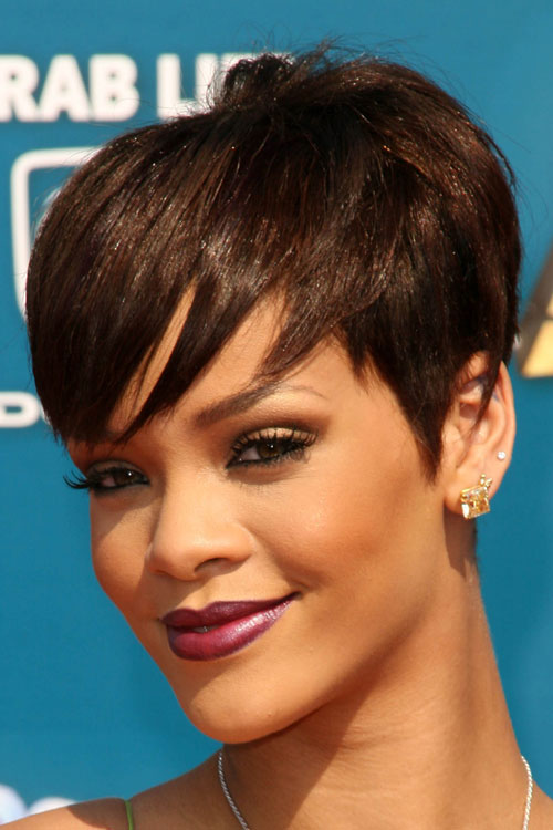Rihanna Straight Dark Brown Choppy Bangs Pixie Cut