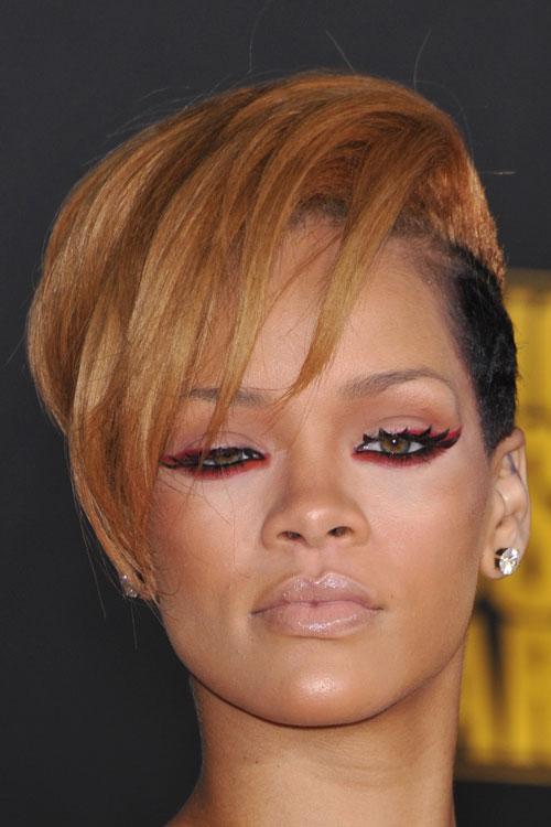 Rihanna Straight Honey Blonde Side Part Two Tone