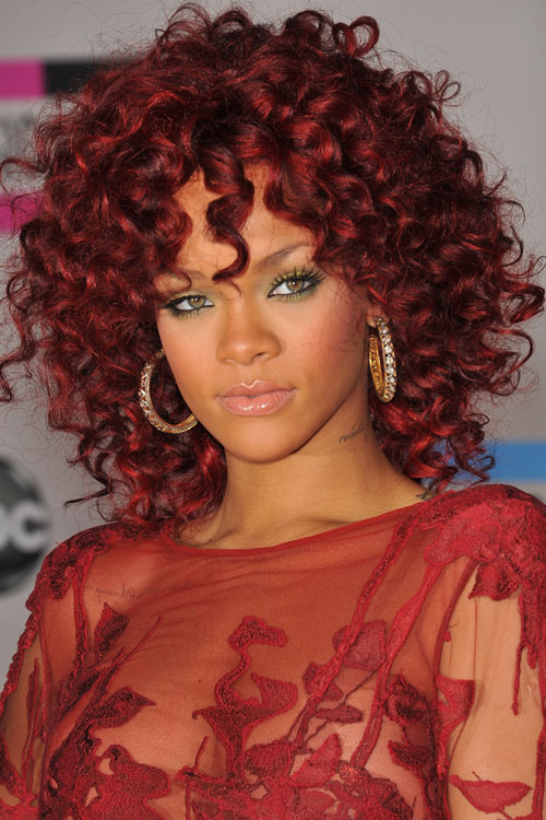 Rihanna Curly Burgundy Afro Hairstyle Steal Her Style